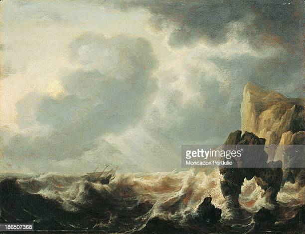 Italy Lombardy Milan Castello Sforzesco Civic Collections of Ancient Art Whole artwork view Stormy seascape A boat is at the mercy of big waves...