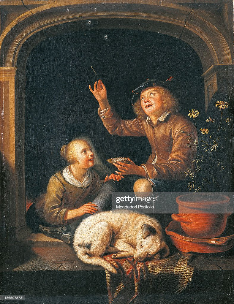 Two Boys Blowing Soap Bubbles, by Anonymous after Dou Gerrit, 17th Century, oil on panel, 25 x 19 cm : News Photo