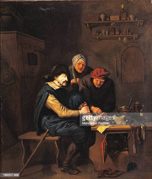 Italy Lombardy Milan Castello Sforzesco Civic Collections of Ancient Art Whole artwork view In a medical office a doctor is operating on a patient at...
