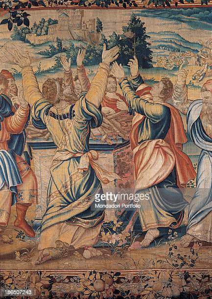 Italy Lombardy Milan Castello Sforzesco Civic Collections of Applied Art Detail A group of people is praying around an altar raising their arms to...