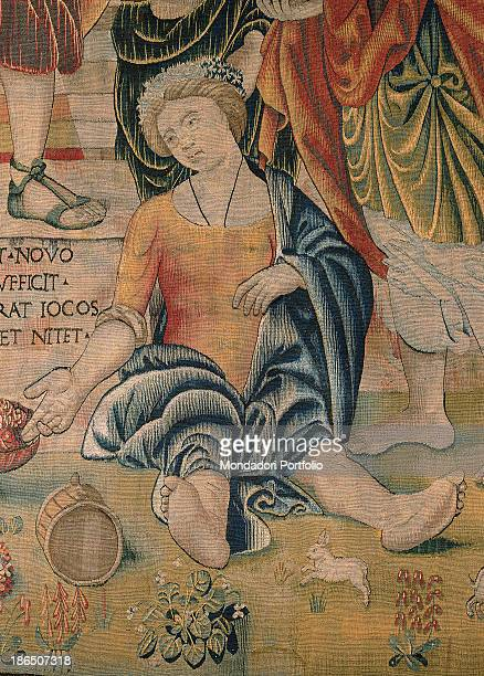Italy Lombardy Milan Castello Sforzesco Civic Collections of Applied Art Detail A young woman is sitting on the floor wearing a wreath on her head...