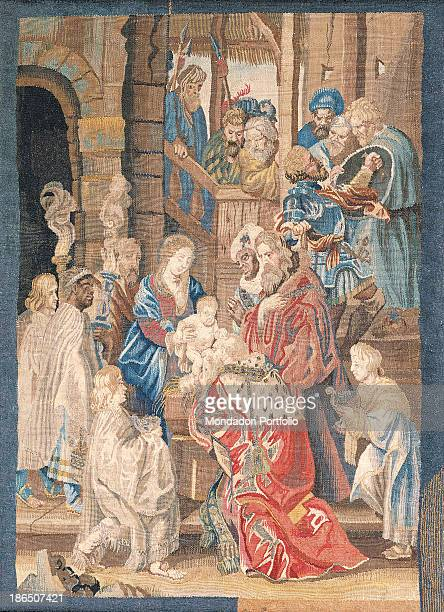 Italy Lombardy Milan Castello Sforzesco Civic Collections of Applied Art Whole artwork view The Magi are coming from far East carrying presents for...