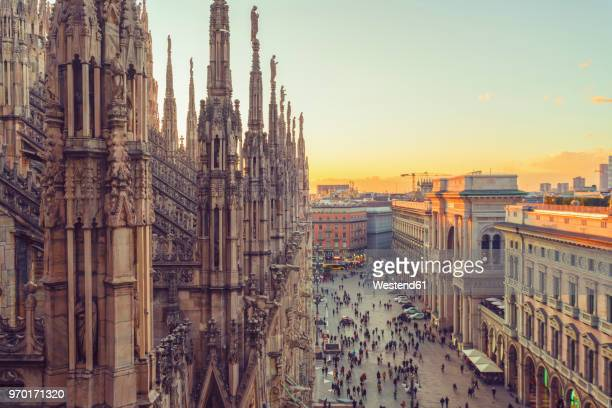 italy, lombardy, milan, milan cathedral at sunset - cathedral stock pictures, royalty-free photos & images