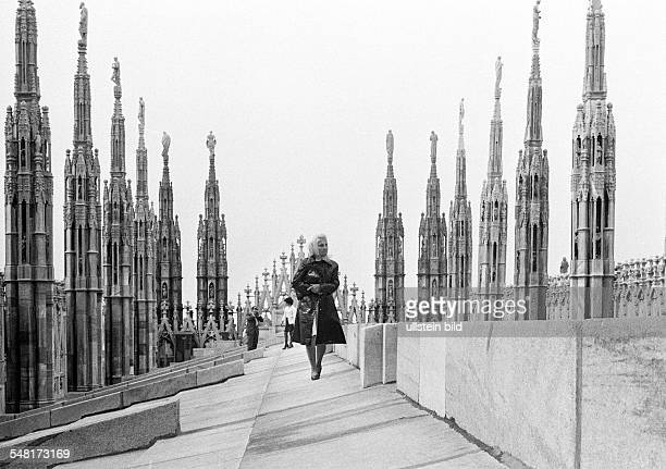 Italy Lombardy Milan Milan Cathedral Duomo di Santa Maria Nascente Dom de Milan Gothic on the roof ot the cathedral
