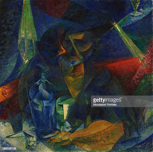 Italy Lombardy Milan Museo del Novecento Whole artwork view Halflength figure of a woman sitting at a table in a coffee broken through geometric...