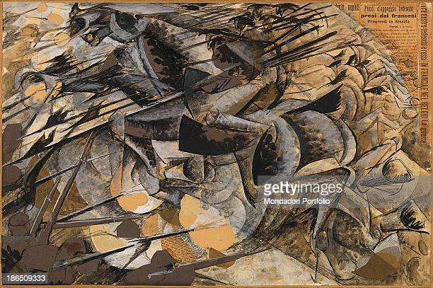 Italy Lombardy Milan Museo del Novecento Whole artwork view In the lower left corner a platoon of soldiers is overwhelmed by the spears of lancers on...