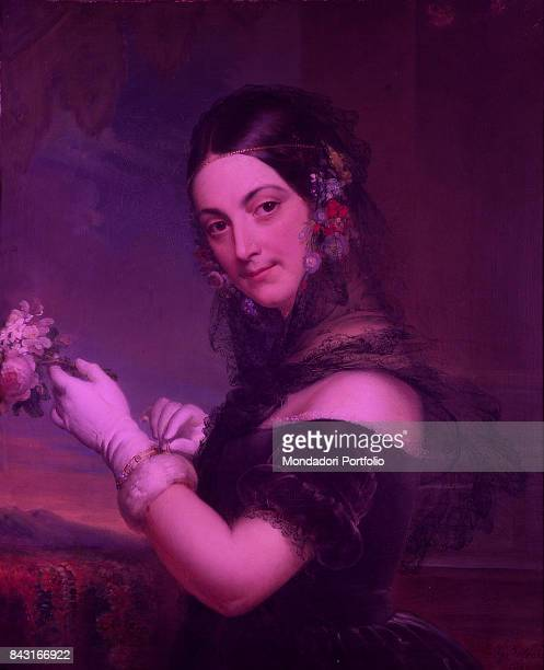 Italy Lombardy Milan Museo teatrale alla Scala Whole artwork view Portrait of Italian soprano Elena Viganò with a veil on the shoulders and a bunch...