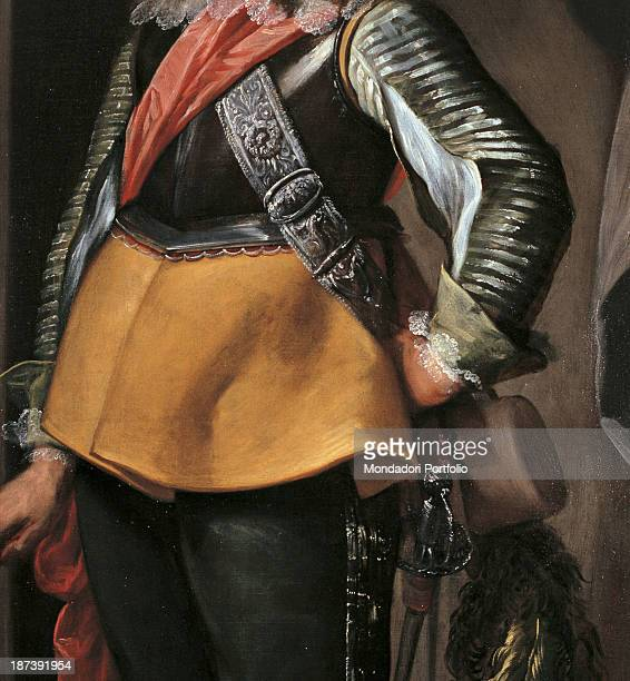 Italy Lombardy Milan Private collection Detail High rank officer wearing armor corselet The sword and the garish plumed hat hang from the bandoleer...