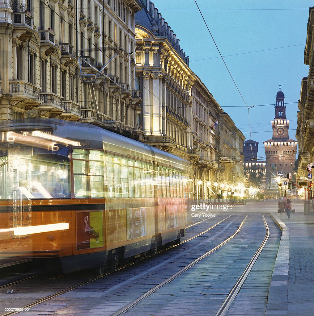 Italy, Lombardy, Milan, tram at dusk (long exposure) : Stock Photo