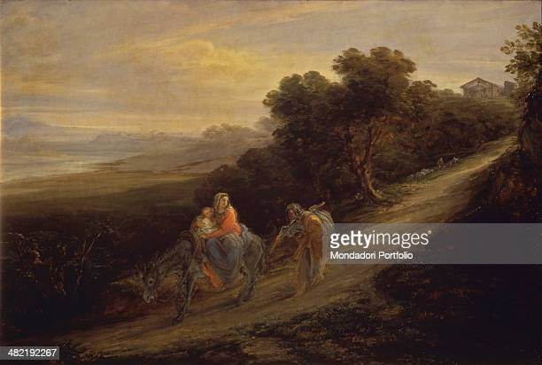 Italy, Lombardy, Pavia, Civic Collection Malaspina. Whole artwork view. Joseph fleeing with Mary and Jesus on a donkey.
