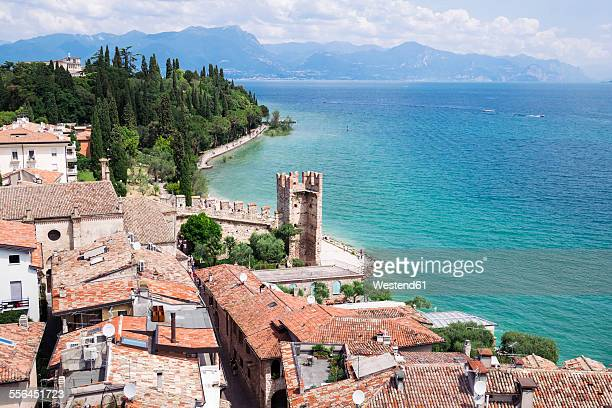 Italy, Lombardy, Province of Brescia, Sirmione, Lake Garda, view from Scaliger Castle