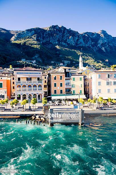 italy, lombardy, province of brescia, view to gargnano, mooring area - lake garda stock pictures, royalty-free photos & images