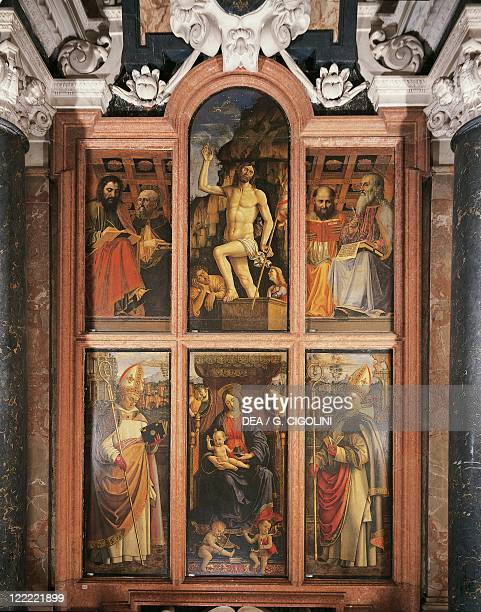 Italy Lombardy region Pavia Charterhouse Interior second chapel on the right Polyptych Madonna and Child Enthroned with Saint Bishops by Macrino...