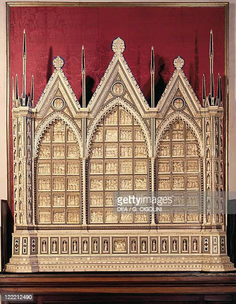 Italy Lombardy region Pavia Charterhouse Old Sacristy Baldassare Embriachi altarfrontal with Stories from Old and New Testament and Legend of the...
