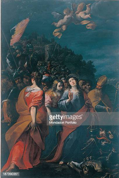 Italy Lombardy Venegono Seminario Arcivescovile All In the foreground male and female Saints at Saint Martha's feet is the dragon Saint Lazarus the...