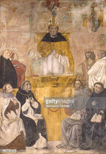 Italy Lombardy Vignola Church of the Announced Holy Mary Whole artwork view St Albert the Great in the center seated on a throne surrounded by other...