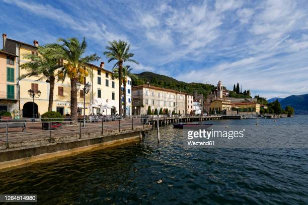 italy, lombardy,rivadisolto, lakeiseoand town - ロンバルディア州 ストックフォトと画像