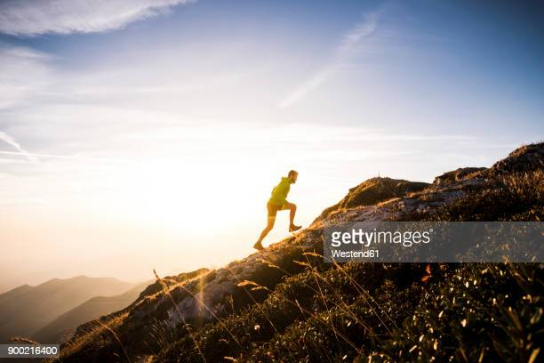 Italy, man running on mountain trail