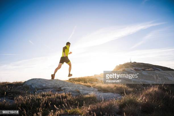 italy, man running on mountain trail - cross country running stock pictures, royalty-free photos & images