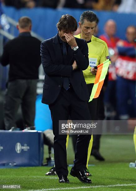Italy manager Antonio Conte reacts during the penalty shoot out following the UEFA Euro 2016 Quarter Final match between Germany and Italy at Nouveau...