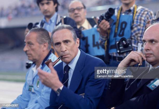 Italy manager Enzo Bearzot smokes his pipe before the UEFA Euro 1980 Third Place Play-Off match between Czechoslovakia and Italy at the Stadio San...