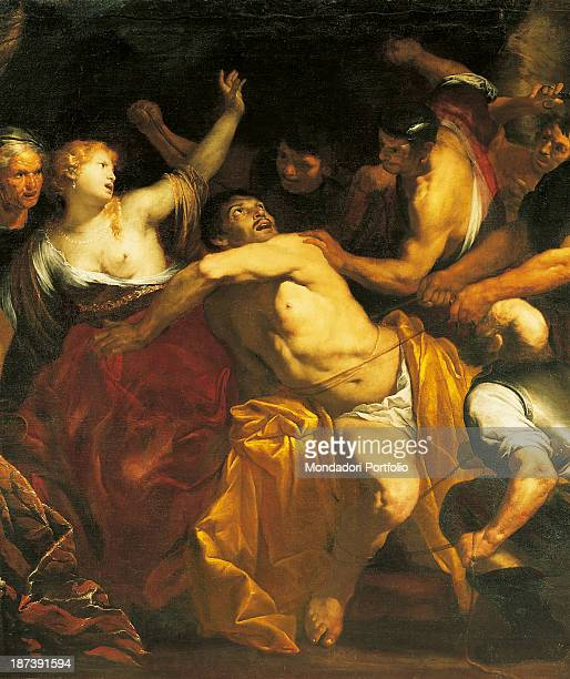Italy, Marche, Ascoli Piceno, Pinacoteca Civica; All; Fight for the capture of Samson, tied with ropes; On the left a woman with bare breasts;.