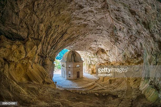 italy, marche district, gola della rossa, the valadier church - marche italia foto e immagini stock