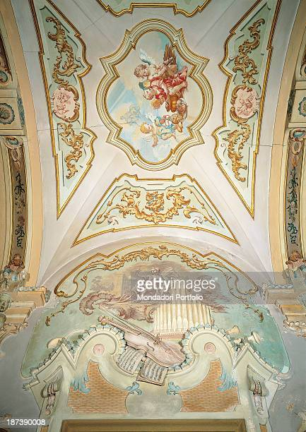 Italy Marche Jesi Palazzo Pianetti TeseiGalleria del piano nobile All The vaults decoration is divided in compartments made with white and gilted...
