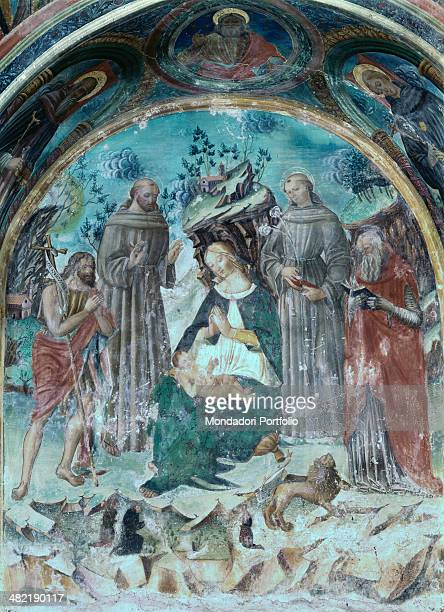 Italy Marche Macerata Saint Genesio St Michael's Church Whole artwork view Madonna of humility and Child with Saints John the Baptist Francis Anthony...