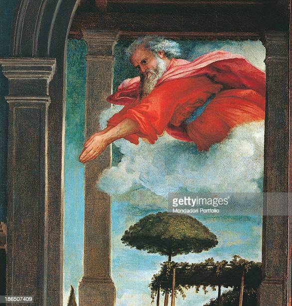 Italy Marche Recanati Pinacoteca Civica Villa Colloredo Mels Detail God Father as an old bearded man enters Mary's house from a window In the...
