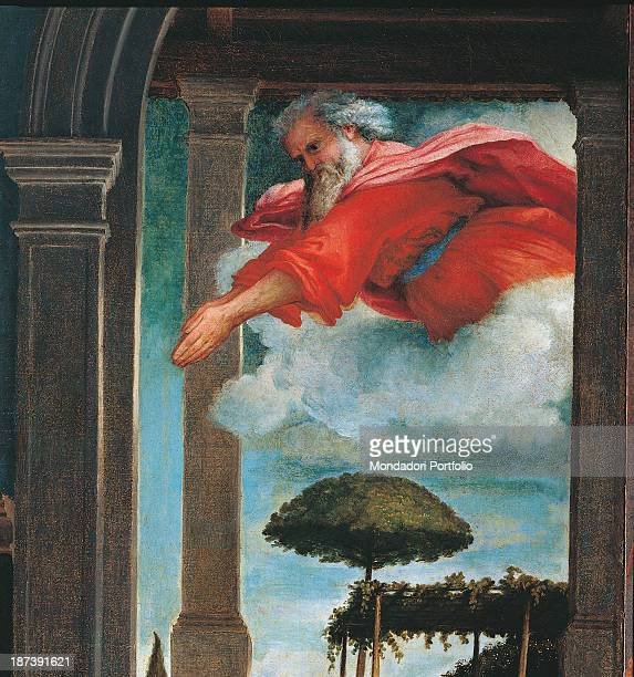 Italy Marche Recanati Pinacoteca Comunale A Moroni Detail God the Father bearded old man with white hair and red robe bursts from heavens on a cloud...