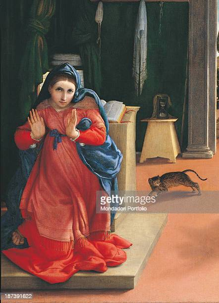 Italy, Marche, Recanati, Pinacoteca Comunale A, Moroni, Detail, The Virgin Mary in a full length red robe and blue cloak turns from the kneeler on...