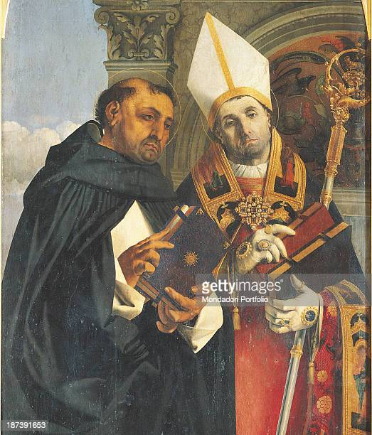 Italy Marche Recanati Pinacoteca Comunale A Moroni The Saints Thomas Aquinas and Flavian Detail of the two halflength figures St Thomas with book and...