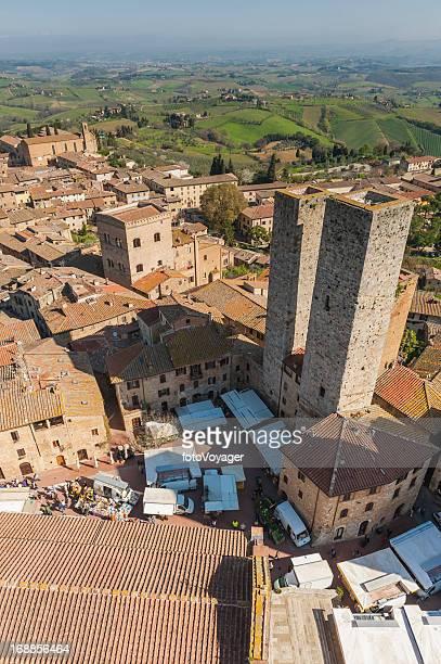 Italy market day in San Gimignano Tuscany