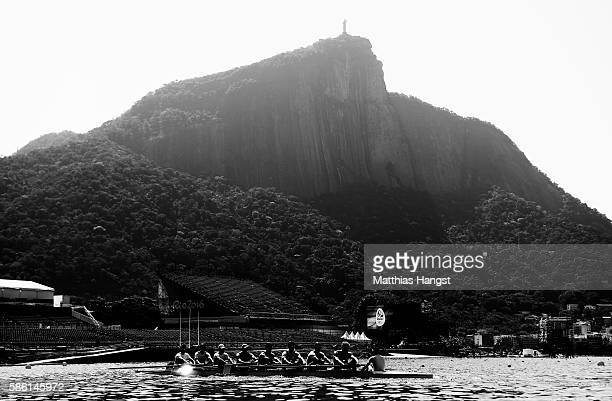 Italy Men's Eight practice on Lagoa Rodrigo de Freitas the site of the Olympic rowing venue for the 2016 Summer Olympic Games on on August 5 2016 in...