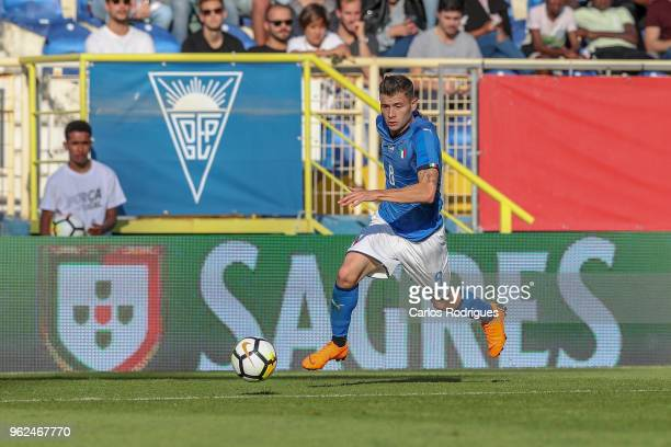 Italy midfielder Nicolo Barella during the International Friendly match between Portugal U21 and Italy U21 at Estadio Antonio Coimbra da Mota on May...