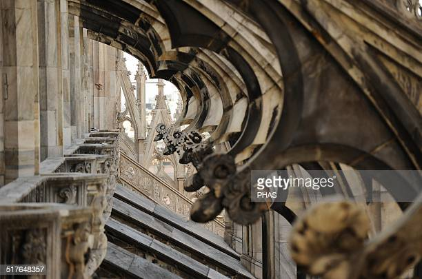 Italy Milan Cathedral Gothic 14th century Exterior Detail Facade