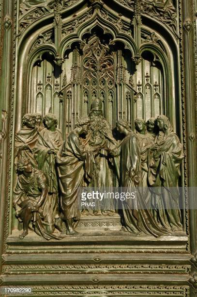 Italy. Milan Cathedral. Main gate. The marriage of the Virgin Mary.