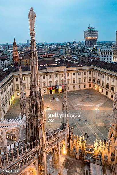 Italy Milan Cathedral Metropolitan Cathedralbasilica of St Mary of The Nativity Palazzo Reale and The Square in Front As Seen from The Roof of The...