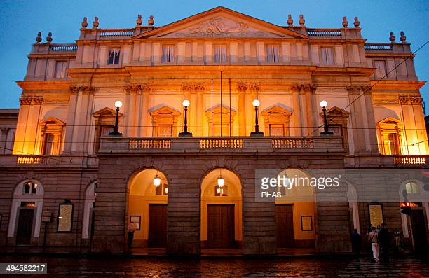 Italy Milan La Scala by night Opera house Inagurated in 1778 Built by Giuseppe Piermarini