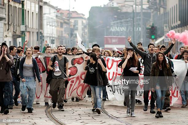 Thousands of students took part in a demonstration in downtown Milan on April 30 2015 to protest against the World Exposition Milano 2015 According...