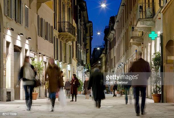 Italy, Milan, Via Della Spiga. People shopping