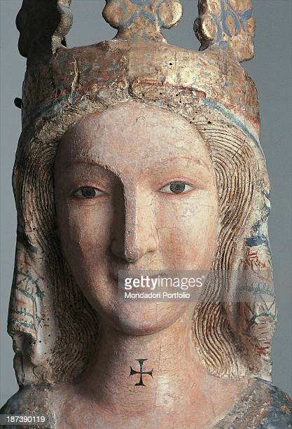 Italy Molise Cercemaggiore Santuario di Santa Maria della Libera Detail Close view of a statue of the Holy Virgin's crowned head carved on wood and...