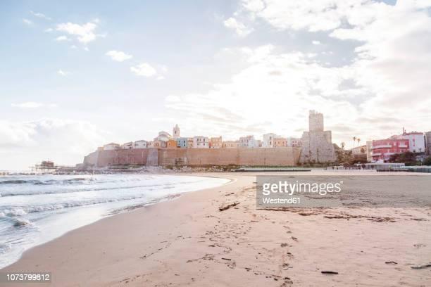 italy, molise, termoli, old town with castello svevo, view from beach - molise foto e immagini stock