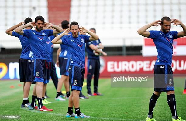 Italy national football team players exercise during a training session at the Poljud stadium in Split on June 11 on the eve of the Euro 2016...