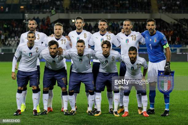 Italy national team players pose for the photo during the 2018 FIFA World Cup Russia qualifier Group G football match between Italy and FYR Macedonia...