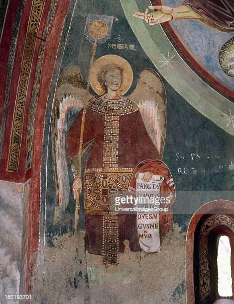 Italy Novalesa Abbey Chapel of Saint Eldrado and Saint Nicholas 11th century Fresco depicting Saint Michael Archangel Abse