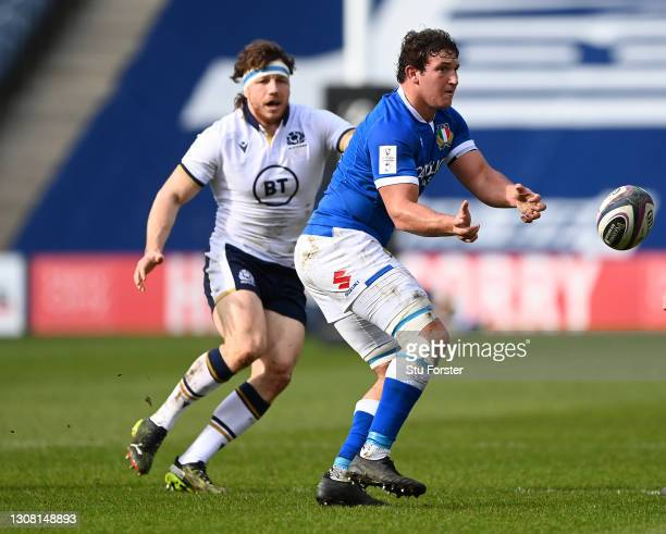 Italy number 8 Michele Lamaro in action during the Guinness Six Nations match between Scotland and Italy at Murrayfield on March 20, 2021 in...
