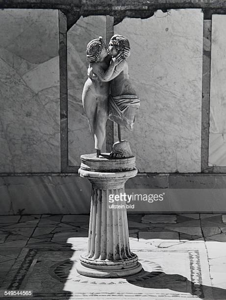 Italy, Ostia Antica, antique Roman sculpture Cupid and Psyche
