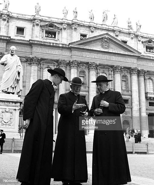 Italy Outside St Peters Cathedral Cardinal Griffin is pictured showing his secretary Mon Warlock and the Director of the English College the Rt Rev...